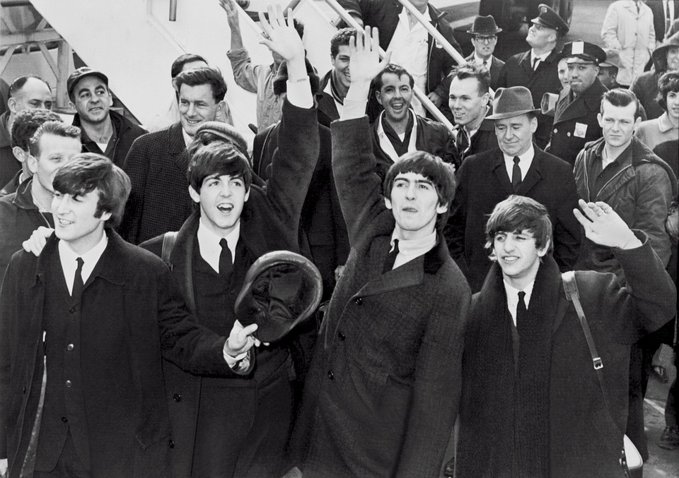 the beatles photo in black and white